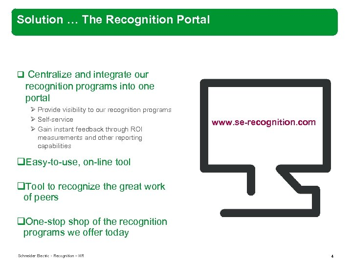 Solution … The Recognition Portal q Centralize and integrate our recognition programs into one
