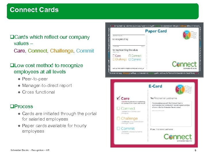 Connect Cards Paper Card q. Cards which reflect our company values – Care, Connect,