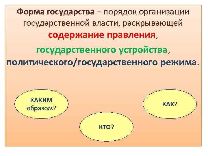 Форма государства – порядок организации государственной власти, раскрывающей содержание правления, государственного устройства, политического/государственного режима.