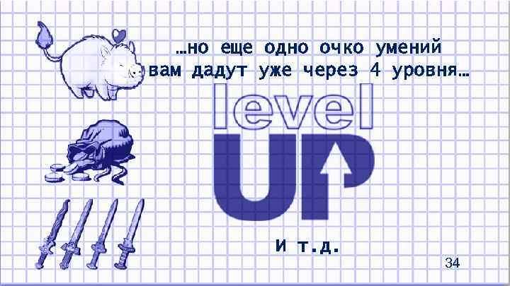 …но еще одно очко умений вам дадут уже через 4 уровня… И т. д.