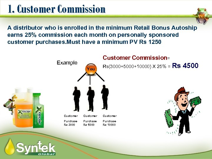 1. Customer Commission A distributor who is enrolled in the minimum Retail Bonus Autoship
