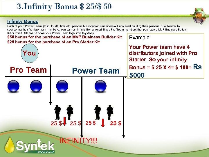 3. Infinity Bonus $ 25/$ 50 Infinity Bonus Each of your 'Power Team' (third,