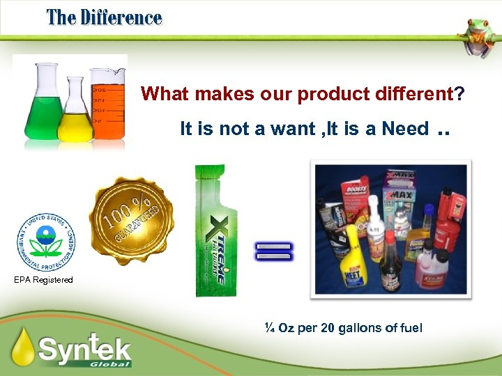 The Difference What makes our product different? It is not a want , It