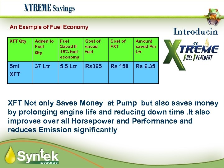 XTREME Savings An Example of Fuel Economy XFT Qty Added to Fuel Qty Fuel