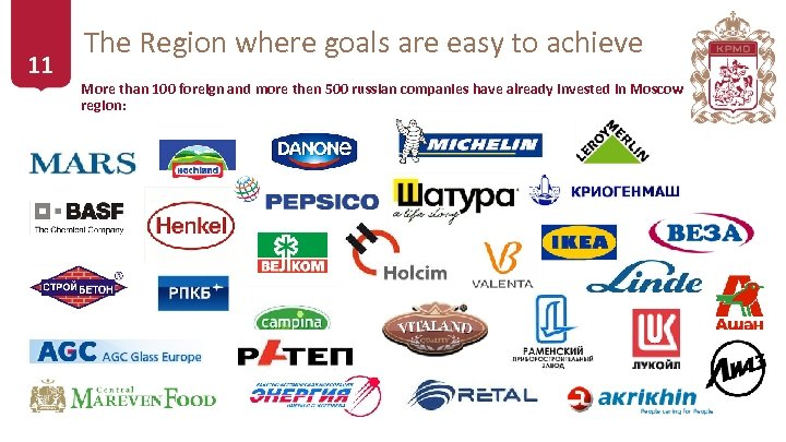 11 The Region where goals are easy to achieve More than 100 foreign and