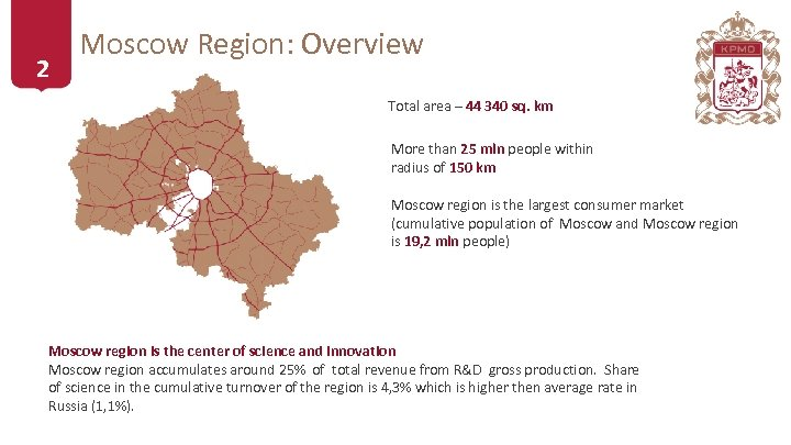 2 Moscow Region: Overview Total area – 44 340 sq. km More than 25