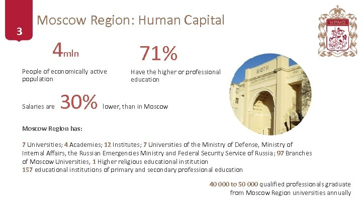 3 Moscow Region: Human Capital 4 mln People of economically active population Salaries are