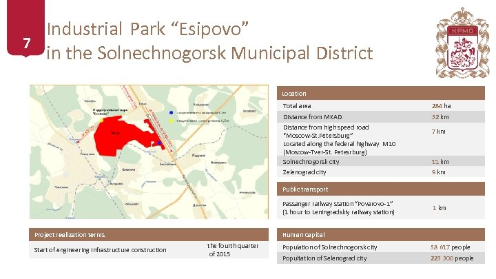 """Industrial Park """"Esipovo"""" 7 in the Solnechnogorsk Municipal District Location Total area 284 ha"""