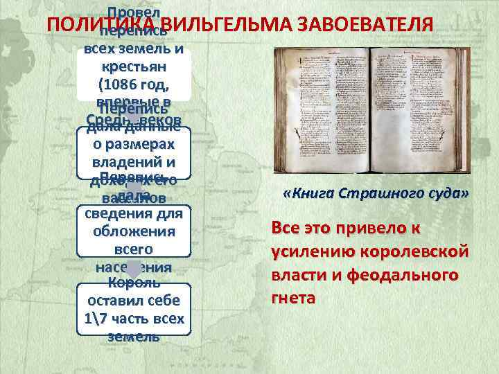 Провел ПОЛИТИКА ВИЛЬГЕЛЬМА ЗАВОЕВАТЕЛЯ перепись всех земель и крестьян (1086 год, впервые в Перепись