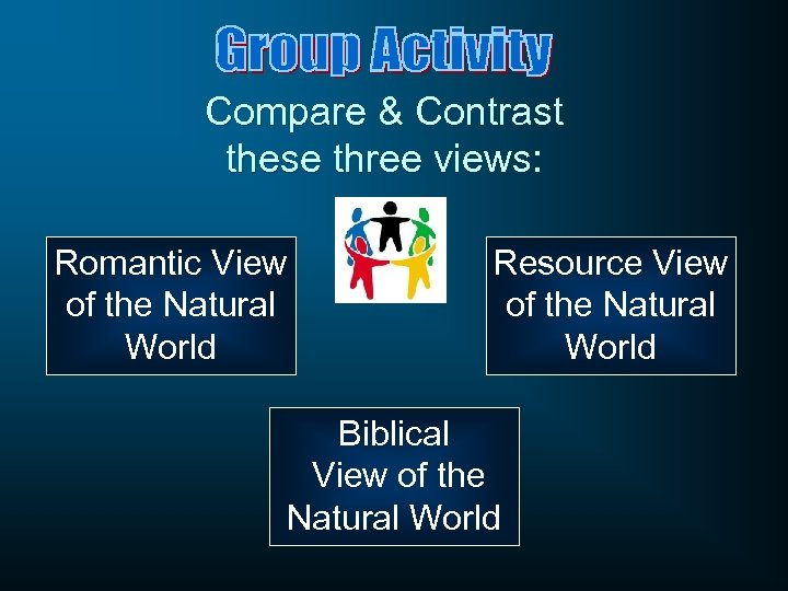 Compare & Contrast these three views: Romantic View of the Natural World Resource View