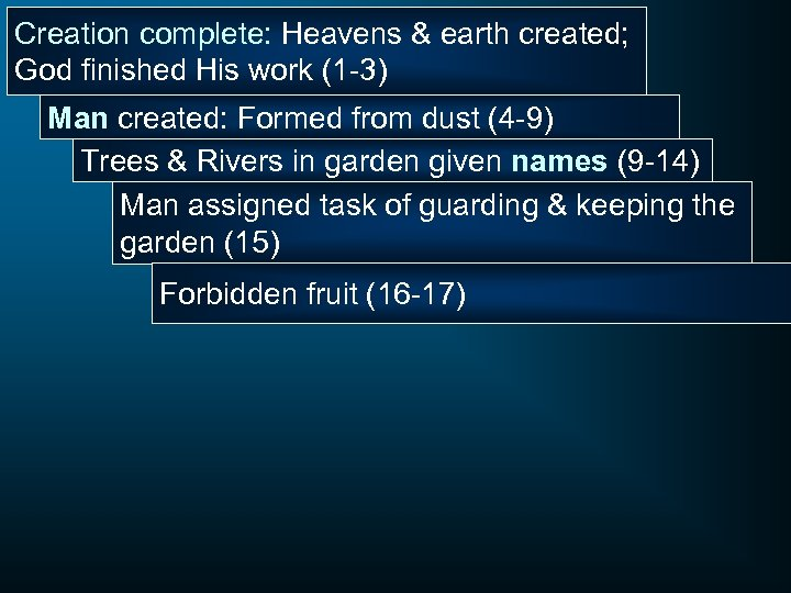 Creation complete: Heavens & earth created; God finished His work (1 -3) Man created: