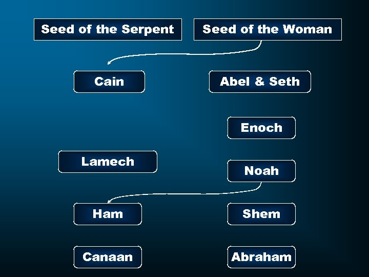 Seed of the Serpent Cain Seed of the Woman Abel & Seth Enoch Lamech