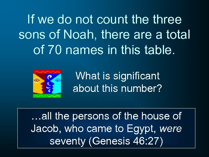 If we do not count the three sons of Noah, there a total of