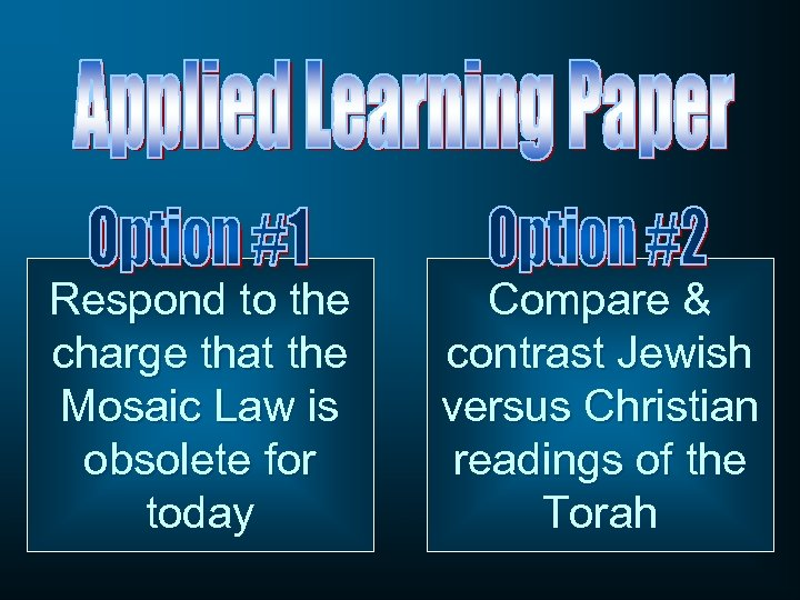Respond to the charge that the Mosaic Law is obsolete for today Compare &