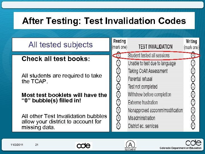 After Testing: Test Invalidation Codes All tested subjects Check all test books: All students