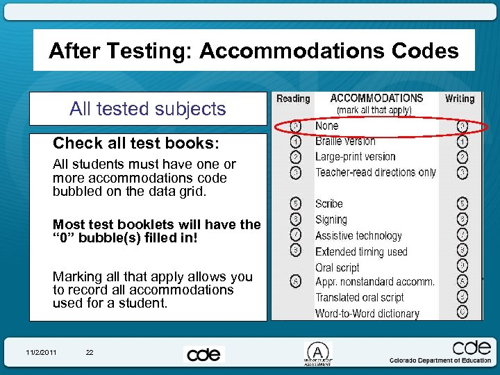 After Testing: Accommodations Codes All tested subjects Check all test books: All students must