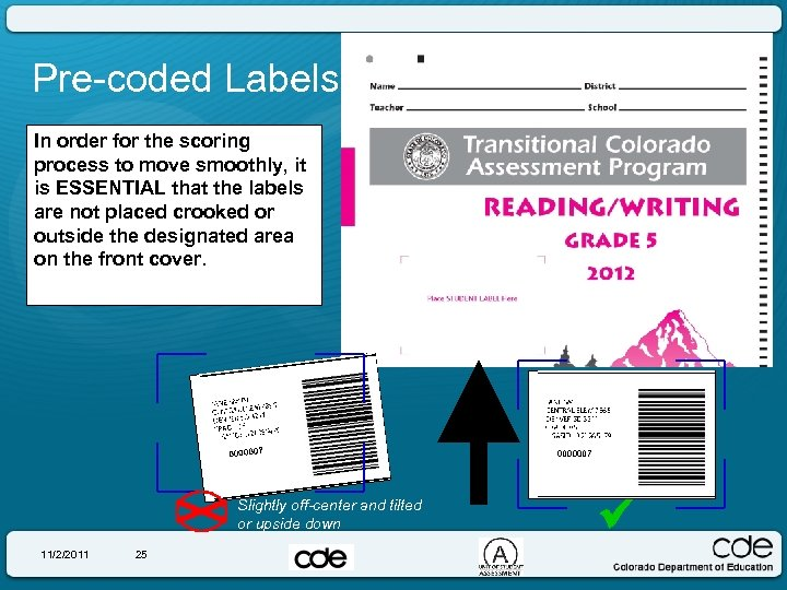 Pre-coded Labels In order for the scoring process to move smoothly, it is ESSENTIAL
