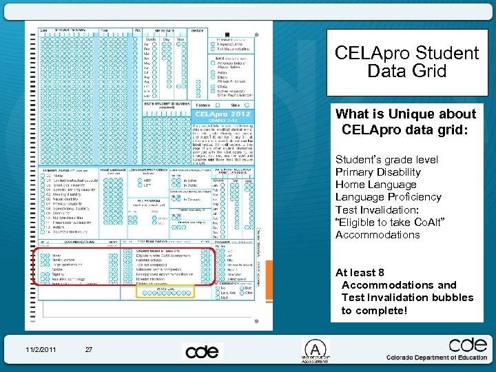CELApro Student Data Grid What is Unique about CELApro data grid: Student's grade level