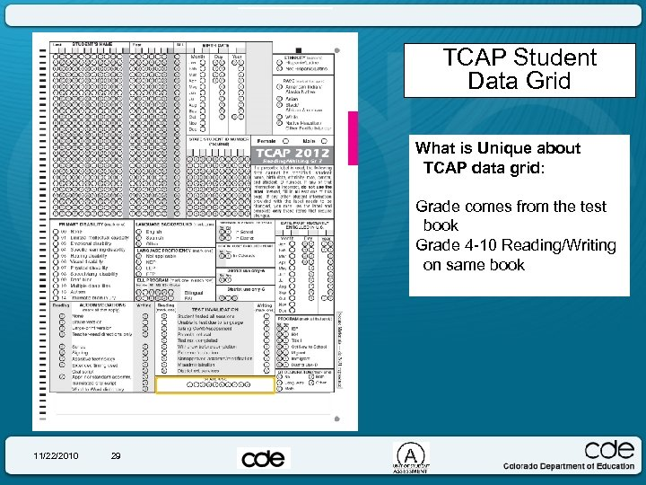 TCAP Student Data Grid What is Unique about TCAP data grid: Grade comes from