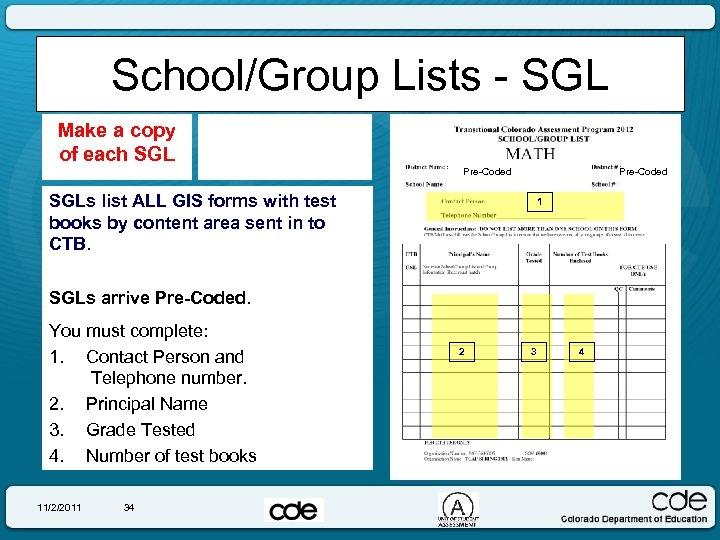 School/Group Lists - SGL Make a copy of each SGL Pre-Coded SGLs list ALL