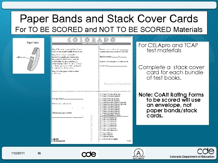 Paper Bands and Stack Cover Cards For TO BE SCORED and NOT TO BE