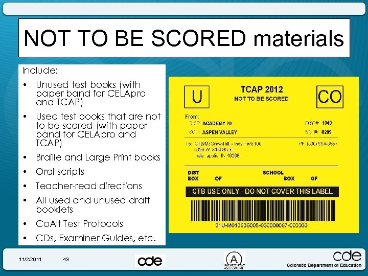 NOT TO BE SCORED materials Include: • Unused test books (with paper band for