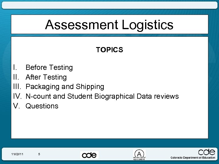 Assessment Logistics TOPICS I. III. IV. V. 11//2//11 Before Testing After Testing Packaging and