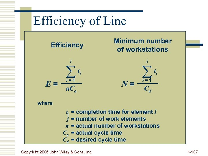 Efficiency of Line Efficiency Minimum number of workstations i t i i i=1 E