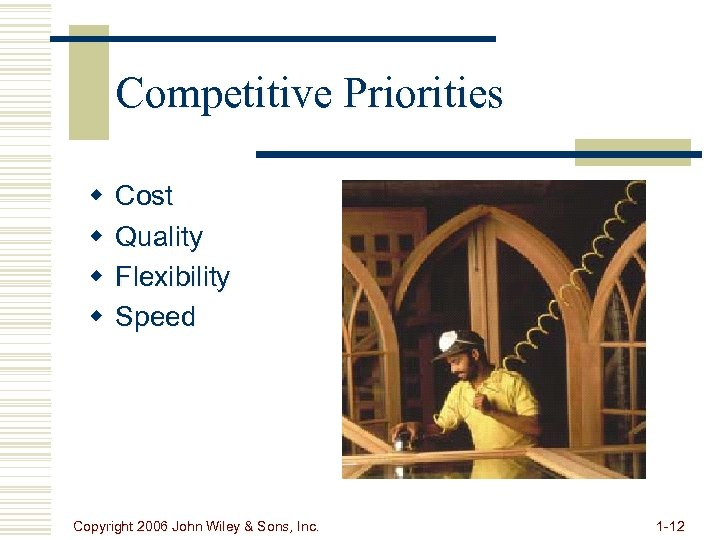 Competitive Priorities w w Cost Quality Flexibility Speed Copyright 2006 John Wiley & Sons,
