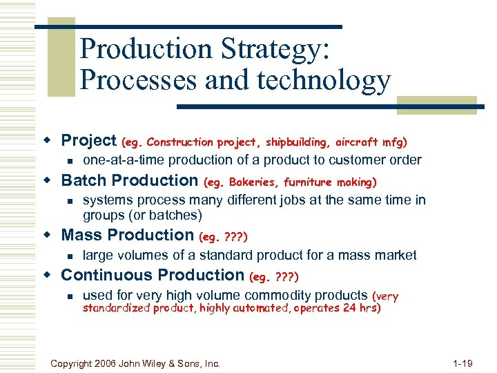 Production Strategy: Processes and technology w Project (eg. Construction project, shipbuilding, aircraft mfg) n
