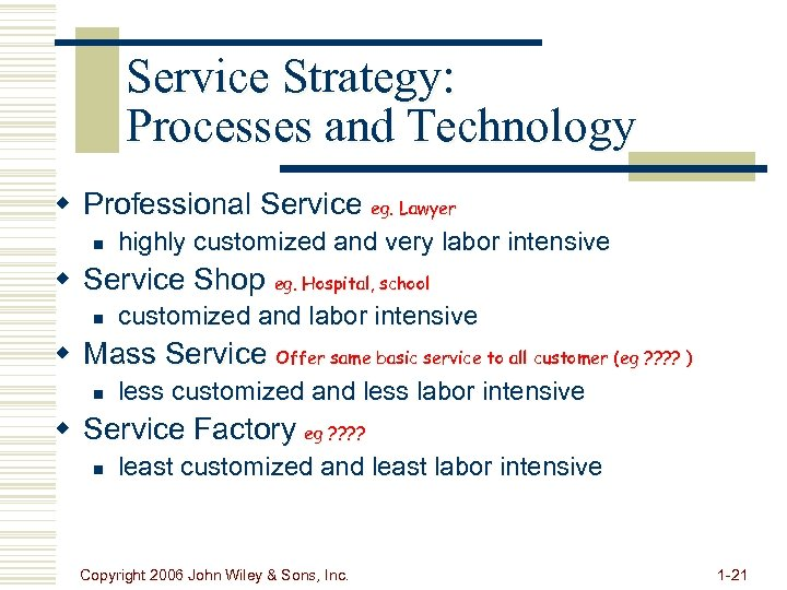 Service Strategy: Processes and Technology w Professional Service eg. Lawyer n highly customized and