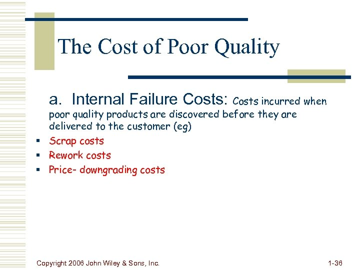 The Cost of Poor Quality a. Internal Failure Costs: Costs incurred when poor quality