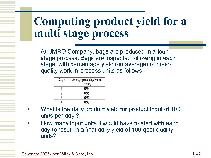 Computing product yield for a multi stage process At UMRO Company, bags are produced
