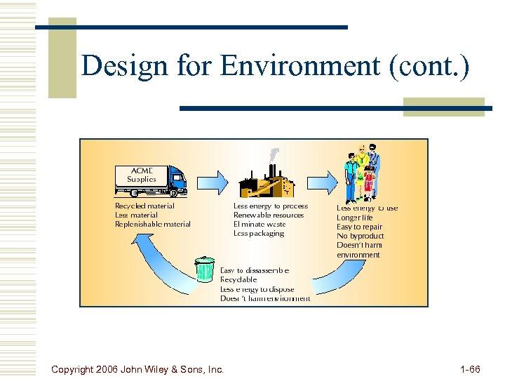 Design for Environment (cont. ) Copyright 2006 John Wiley & Sons, Inc. 1 -66