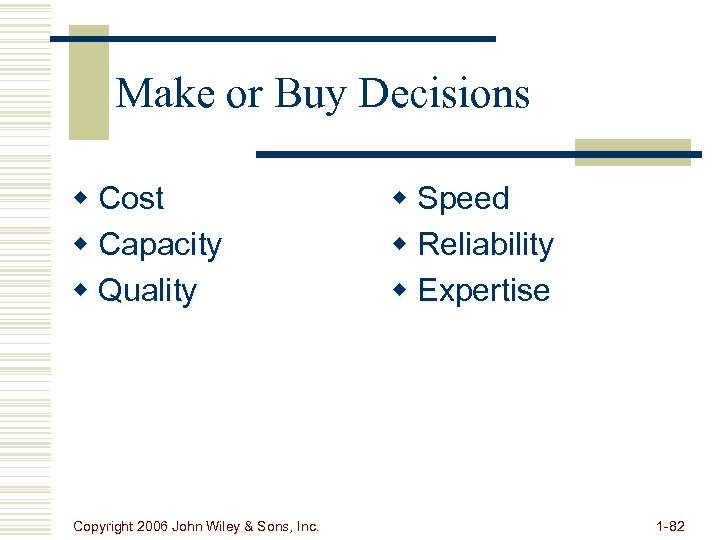 Make or Buy Decisions w Cost w Capacity w Quality Copyright 2006 John Wiley