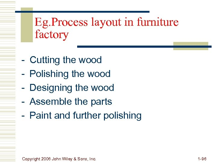 Eg. Process layout in furniture factory - Cutting the wood Polishing the wood Designing