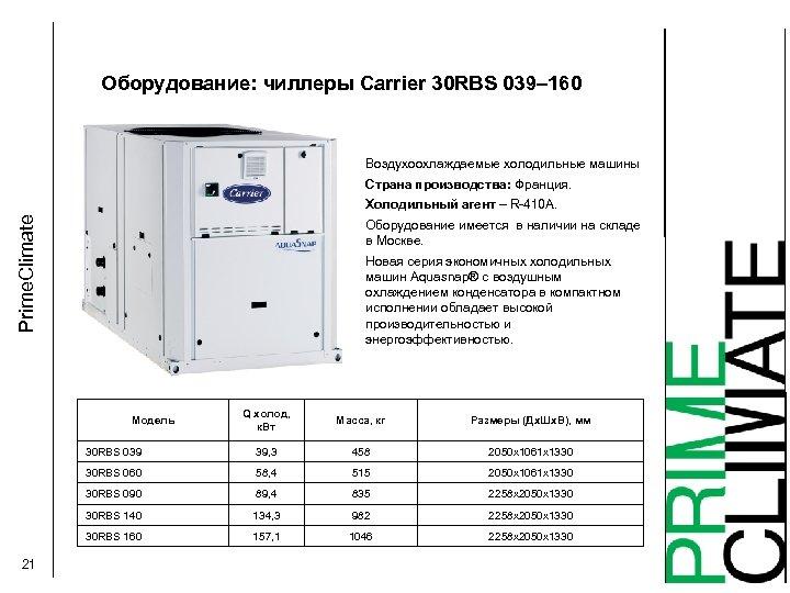 Оборудование: чиллеры Carrier 30 RBS 039– 160 Воздухоохлаждаемые холодильные машины Страна производства: Франция. Prime.