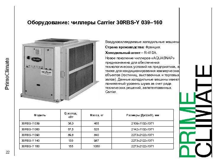 Оборудование: чиллеры Carrier 30 RBS-Y 039– 160 Воздухоохлаждаемые холодильные машины Страна производства: Франция. Холодильный