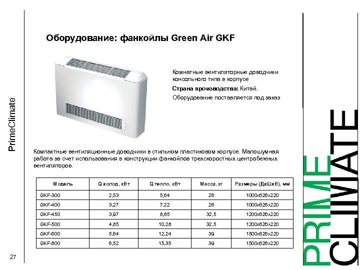 Оборудование: фанкойлы Green Air GKF Комнатные вентиляторные доводчики консольного типа в корпусе Prime. Climate