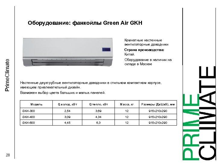 Оборудование: фанкойлы Green Air GKН Комнатные настенные вентиляторные доводчики Prime. Climate Страна производства: Китай.