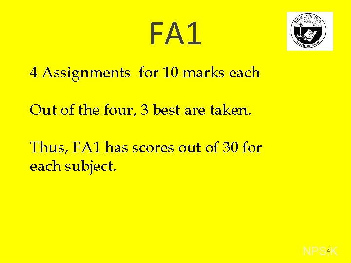 FA 1 4 Assignments for 10 marks each Out of the four, 3 best