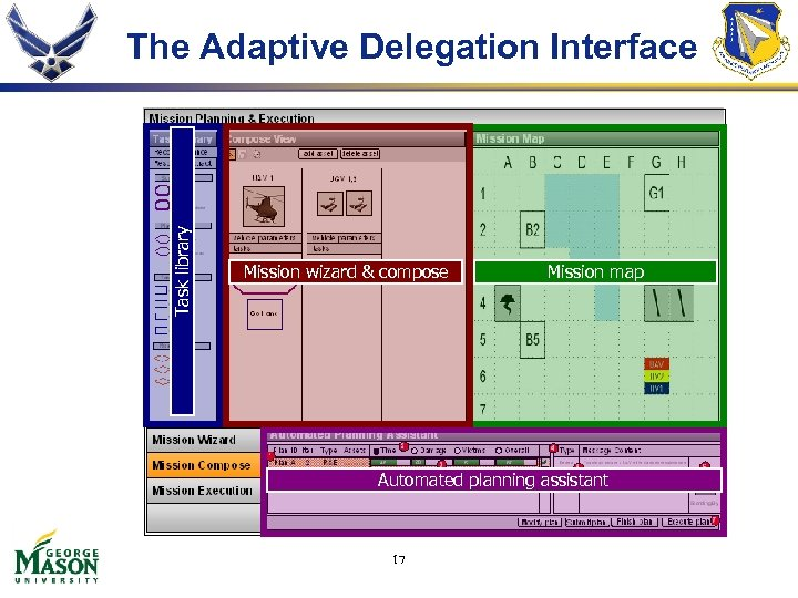 Task library The Adaptive Delegation Interface Mission wizard & compose Mission map Automated planning