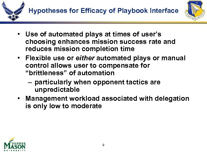 Hypotheses for Efficacy of Playbook Interface • Use of automated plays at times of