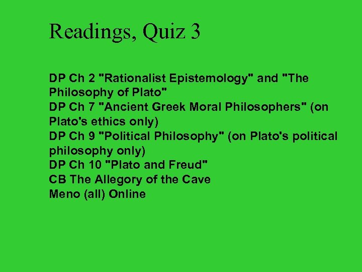 Readings, Quiz 3 DP Ch 2