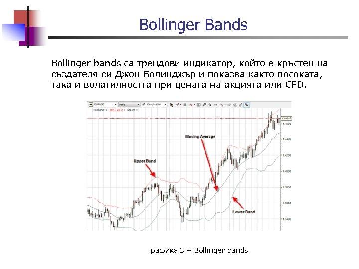 Bollinger Bands Bollinger bands са трендови индикатор, който е кръстен на създателя си Джон