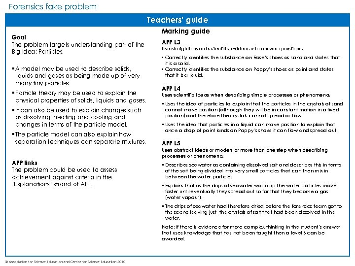 Forensics fake problem Teachers' guide Goal The problem targets understanding part of the Big