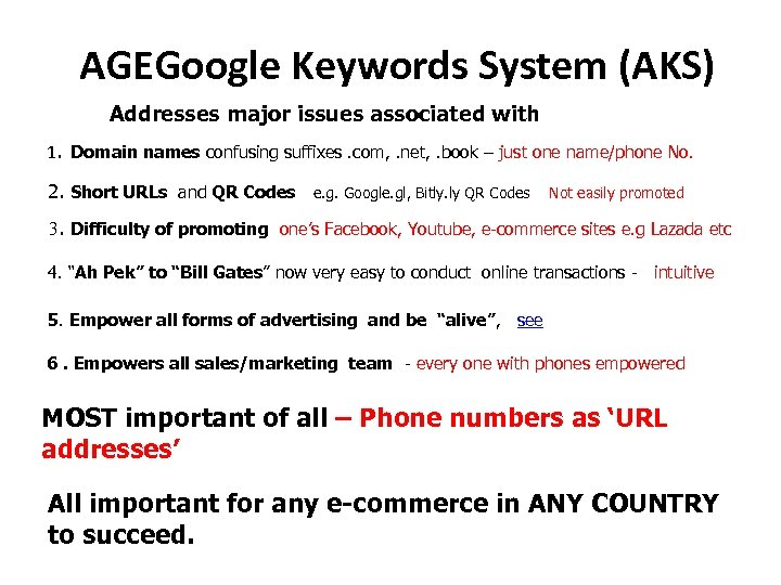 AGEGoogle Keywords System (AKS) Addresses major issues associated with 1. Domain names confusing suffixes.