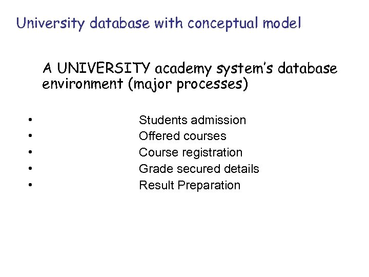 University database with conceptual model A UNIVERSITY academy system's database environment (major processes) •