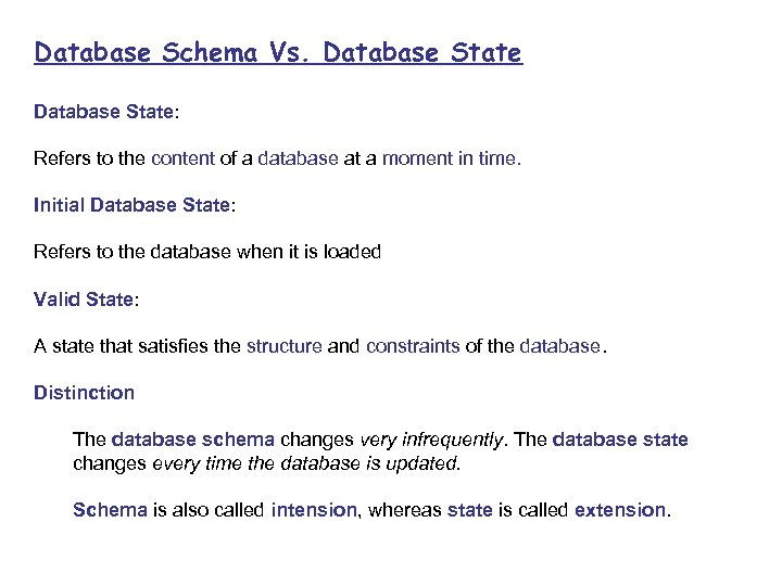 Database Schema Vs. Database State: Refers to the content of a database at a