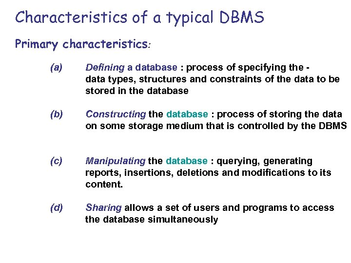 Characteristics of a typical DBMS Primary characteristics: (a) Defining a database : process of